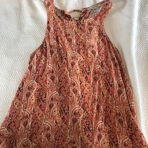 Paisley lace-up/open back tank top